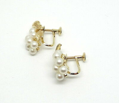 beeb991c6 ... Rare Vintage MIKIMOTO Cluster Akoya Pearl 14K Gold Screw On Non Pierced  Earrings 7