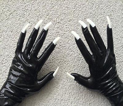 dominante Mistress Gummi Rubber Latexhandschuhe mit Extremotips Gr. XL 11