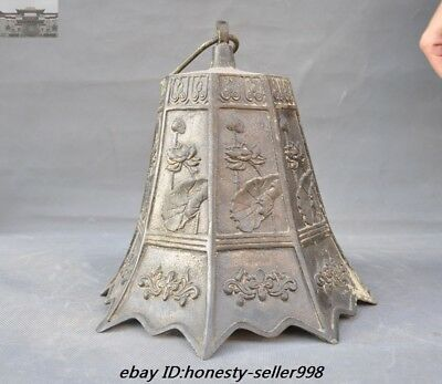 """23""""Old Chinese Buddhism Temple Bronze Lotus flower Hanging Pray Bell Zhong Bells 5"""