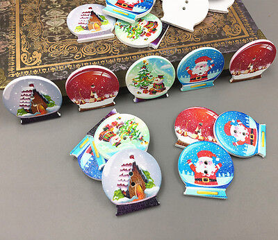 DIY 25X Wooden Crystal ball shape Christmas pattern Mix Sewing Scrapbooking 30mm 3