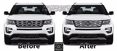 1 Of 9free Shipping 2016 2017 Ford Explorer Chrome Snap On Grille Overlays Front Grill Bars Covers
