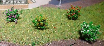 50 dunkelgrüne Büsche, rot, gelb, weiß, und violett blühend, 28 mm hoch 6