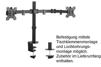 Dual Monitor Schwenkarm Tisch Halterung Doppel Halter 2x 8KG Office-414 3