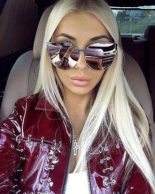 Women Sunglasses BARBIE Pink Princess Metal Cat Eye Oversized Mirror Lens  GAFAS
