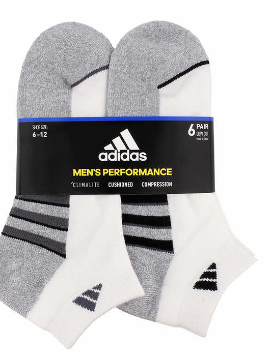 Adidas Men's Climalite Low Cut 6-pair Socks Extended Size XL or REG L White GOLF 4