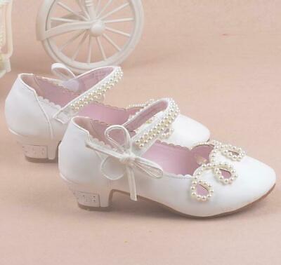 Kids Girls Glitter Pearl Bowknot Princess Shoes High Heels Flower Girls Shoes W2