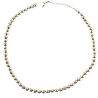"""Antique Sterling 4.5mm Balls Hand Made Choker Necklace Victorian 1800s 15""""Pretty 3"""
