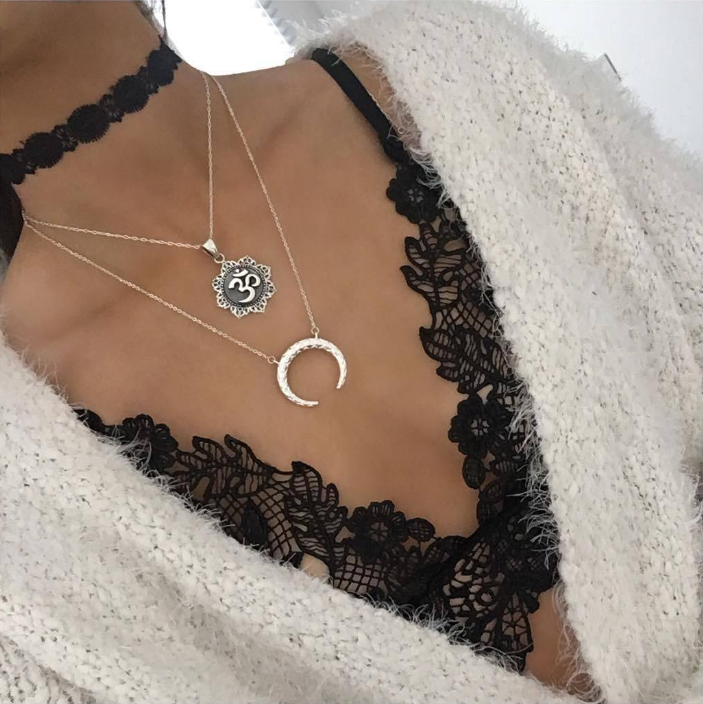 Multilayer Fashion Women Boho Alloy Clavicle Choker Necklace Charm Chain Jewelry 11