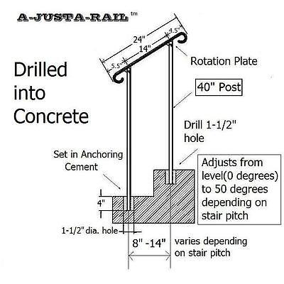 "24""  A-Justa-Rail for drilling into concrete Iron stair Railing step grab Steel 5"