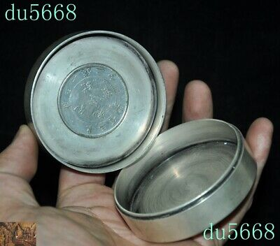 Chinese dynasty Tibetan silver double Dragon Loong coin small Storage Box Boxes 8