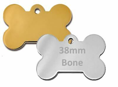 Personalised Round / Bone Engraved Dog ID Name Tag Small / Large Pet / Cat Tags 7