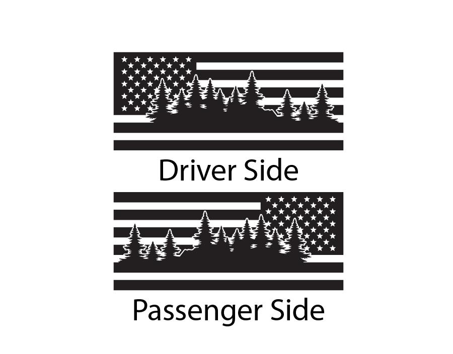 USA Flag Decals fits Side window 2002-2009 Toyota 4Runner TRD Pro 6 stripe FR5