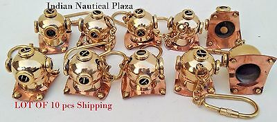 Lot Of 10 Pc New Brass Divers Helmet Keychain Nautical Maritime Yatching Diving 3