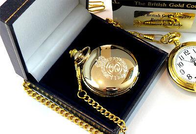 GOLD Plated AMBULANCE POCKET WATCH Paramedic St Johns Driver Gift Case 5
