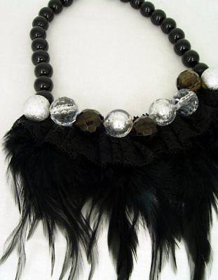 Retro Halskette echte Federn & Spitze mit Kunstperlen vintage Federcollier neu 6