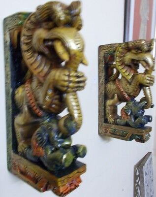 Wooden Bracket Hindu Temple Corbel Yalli Pair Dragon Statue Figure Wall Plaque 11
