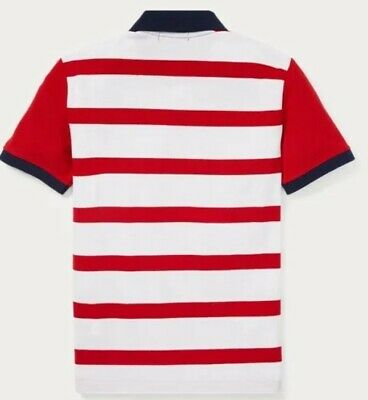 Nwt Polo Ralph Lauren Toddler Boys Big Pony Lion Striped Rugby Shirt Red 2