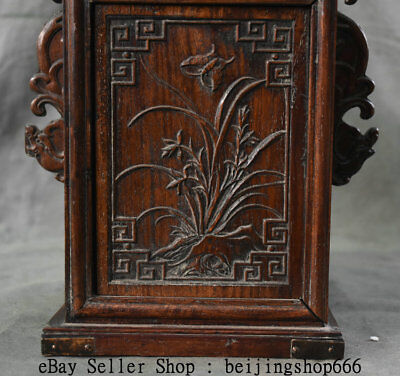 """11"""" Old China Huanghuali Wood Dynasty Portable Layer Drawer Jewelry Box Cabinet 4"""
