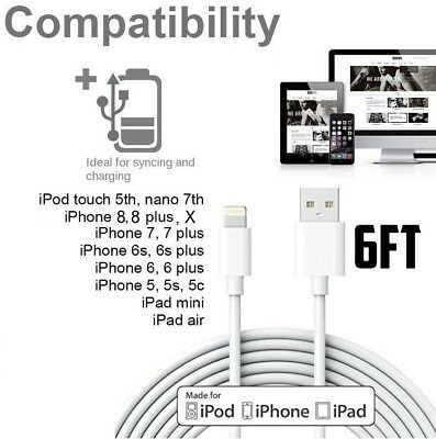 6ft Long 8 Pin USB Power Cord Cable + Cube Wall Charger for iPhone 6S,SE,5,7,8,X