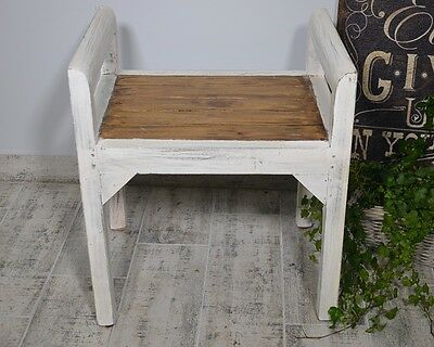 Bench Seat Seater Settee Chair French White Ottoman Wood Vintage Retro Antique 2