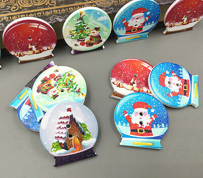 DIY 25X Wooden Crystal ball shape Christmas pattern Mix Sewing Scrapbooking 30mm 2