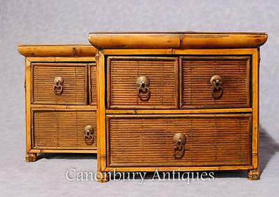 Pair Chinese Antique Bamboo Chest Drawers Mini Travelling Samples 1880 5