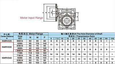 NMRV030 Worm Gear Reducer Ratio 15:1 56B14 Speed Reducer for 180W Electric Motor 10