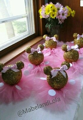 Gold Glitter Minnie Mouse Set 5 Centerpieces 1st Birthday Baby Shower Pink Tutus 4
