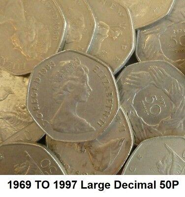 1969 TO 1997 ELIZABETH II CUPRO NICKEL LARGE DECIMAL 50p - CHOICE OF YEAR / DATE 3