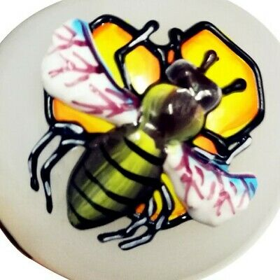 3D White Bee Yellow Hookah Pipe Bong Tobacco Smoking Small Glass Hand Herb Bowl 5