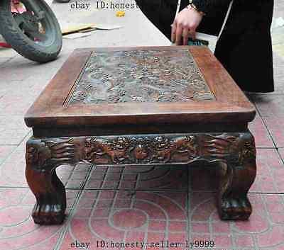 old chinese huanghuali wood carved dragon beast foo dog lion desk Tea table A 9