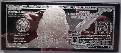 DISCOUNTED 2019 FRANKLIN $100 4 oz .999 CURRENCY SILVER BAR + COA ~ IMPERFECTION 5