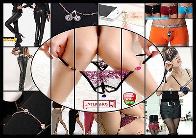 Sexy String ouvert Bikini Micro PERLEN Tanga Damen Spitze Schwarz Dessous S M L 8