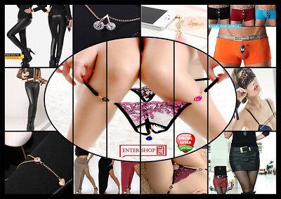 Rio Perlen String Tanga Schwarz Spitze Panty ouvert Schritt offen Erotik S M L
