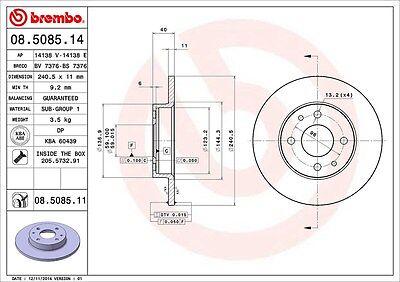 Kit Dischi freno e pastiglie BREMBO Fiat Panda 2 169 1.1 1.2 dal 2003 anteriori 2