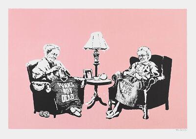 Banksy Knitting Grannies Graffiti Street Art Poster Print Picture A3 A4 2