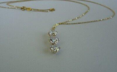 14K YELLOW GOLD LADIES 3 DROP CHAIN NECKLACE PENDANT W/ 3 ct DIAMOND 5