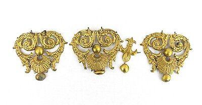 Antique Vintage Lot 3 GOLD TONE COLOR DRAWER PULL KNOBS? OR DECORATIVE ART PIECE 2