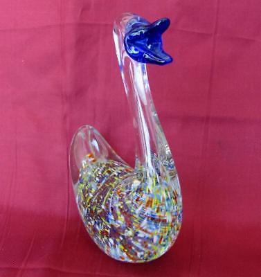 Vintage Italian Murano Color Crystal Glass Decorative Duck Figurine 3