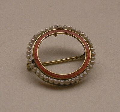 C 1930s 14k Seed Pearl and Enamel Brooch by Sloan /& Co.