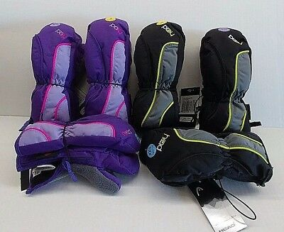 NEW HEAD Jr Insulated Ski Mittens BOY/GIRL (Black/Gray) & (Purple/Lavender/Pink)