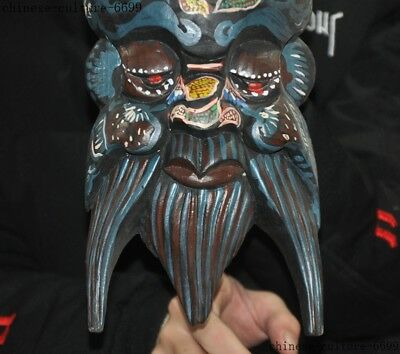 """10""""  Rare Old China Wood Painting Hand Carving Shouxing Immortal God Mask Statue 3"""