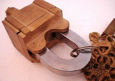 Brass Padlock Square Trick Puzzle Lock  with 6 Keys 4