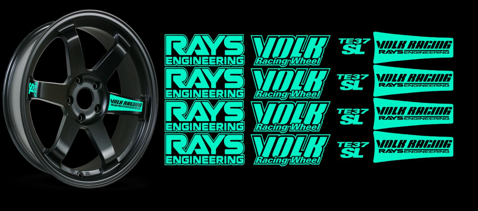 JDM Reflective RAYs VOLK Racing TE37SL Wheel 16 sticker decal Drift 8