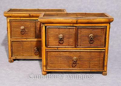 Pair Chinese Antique Bamboo Chest Drawers Mini Travelling Samples 1880 7