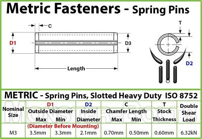 M3 Metric Spring Pins Type, Slotted Heavy Duty Carbon Steel, ISO 8752 - Bulk 3