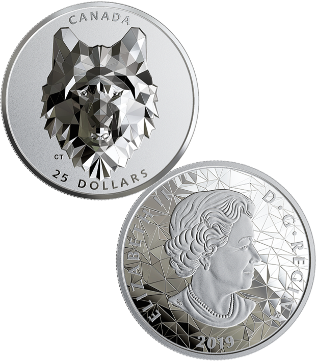 2019 Wolf Multifaceted Animal High Relief Head $25 1OZ Silver Proof Coin Canada 2