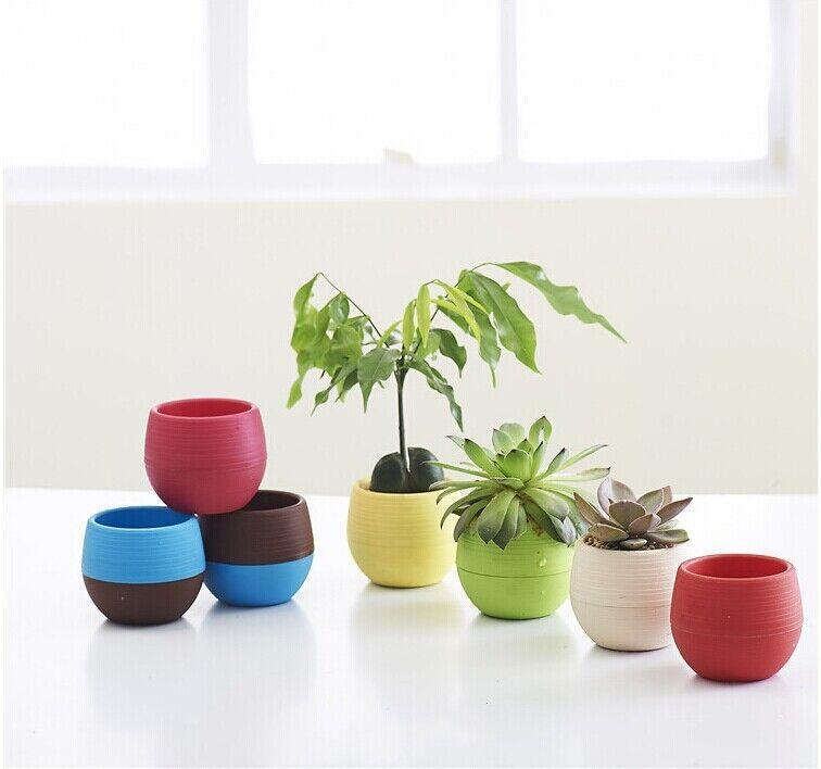 Cute Mini Plastic Flower Pot Succulent Plant Flowerpot Fr Home Office Room Decor 6