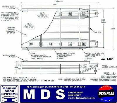 4.6m x 2.5m PONTOON BOAT BBQ WORK PLATFORM BARGE POLY FLOAT HULL ALUMINIUM FRAME