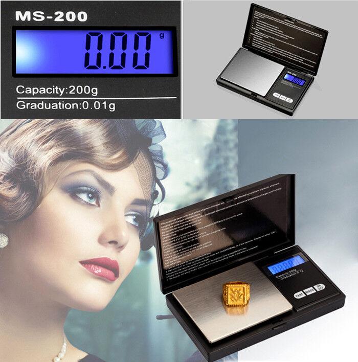 Electronic Pocket Mini Digital Gold Joyas de pesaje Básculas 0.01G a 200 gramos 3